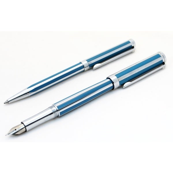 Sheaffer Intensity Cornflower Striped Fountain Pen & Ballpoint Pen Set