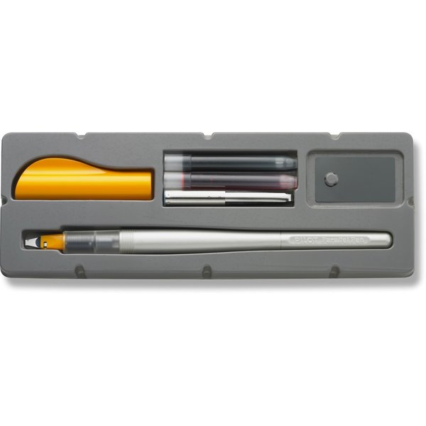 Pilot Calligraphy Pen with Parallel Plate Nib, Silver Barrel with Orange Cap with Red and Blue Ink Cartridges, 2.4mm