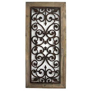 Metal and Wood Scroll-work Wall Plaque (China)