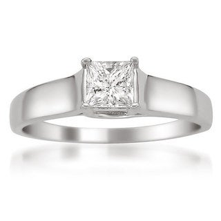 14k White Gold Certified 1/3ct TDW Princess Solitaire Diamond Ring (H-I, I1)