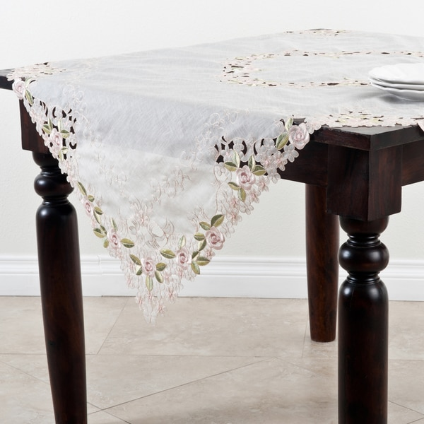 Embroidered Cutwork 72-inch Tablecloth