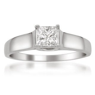 14k White Gold 3/8ct Certified Princess Cut Solitaire Engagement Ring (H-I, I1)