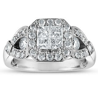 10k White Gold 1 1/4ct TDW Princess-cut Diamond Engagement Ring (H-I, I2-I3)