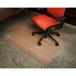 Eco-natural Composite Rectangular Chestnut Brown Chair Mat with Lip
