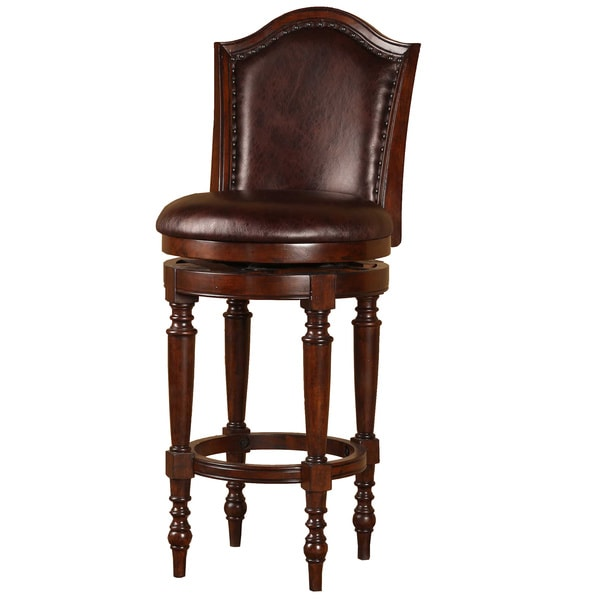 Barcelona Brown Cherry Wood Swivel Stool - 15992422 - Overstock.com ...