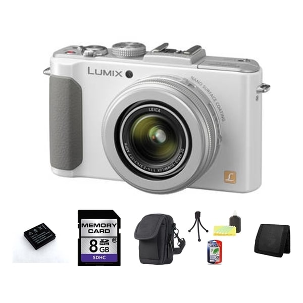 Panasonic Lumix DMC-LX7 10.1MP White Digital Camera 8GB Bundle