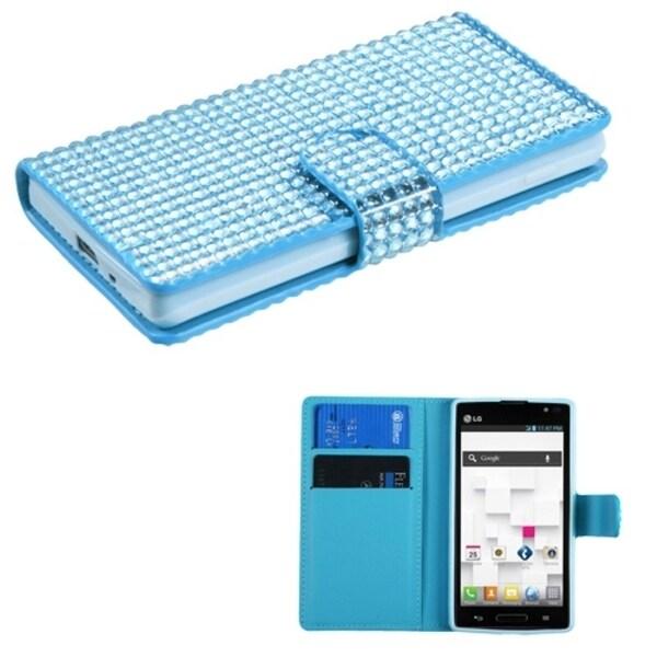 INSTEN Blue Diamond Wallet Phone Case Cover for LG P769 Optimus L9