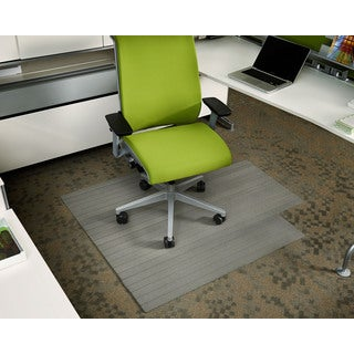 Eco-natural Composite Rectangular Gray Chair Mat with Lip