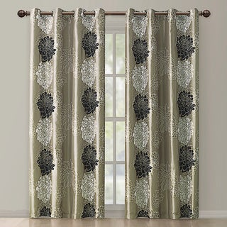 Atwood Gold/ Black Modern Floral Grommet Curtain Panel