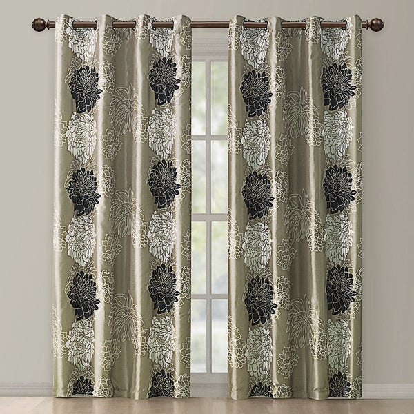 VCNY Atwood Gold/ Black Modern Floral Grommet Curtain Panel