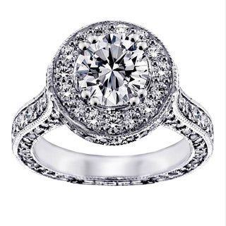 14/18k Gold or Platinum 3 4/5ct TDW Clarity Enhanced Round Halo Diamond Engagement Ring (F-G, SI1-SI2)