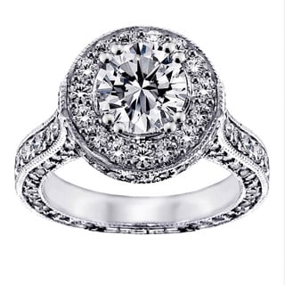 14/18k Gold or Platinum 4ct TDW Clarity Enhanced Round Halo Diamond Engagement Ring (F-G, SI1-SI2)