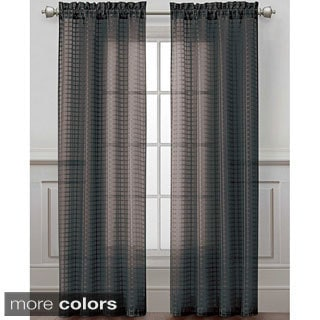 Drake Grid Sheer Curtain Panel
