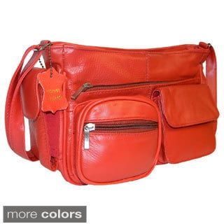 Hollywood Tag Cowhide Leather Multi-pocket Shoulder Bag