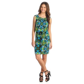 London Times Women's Green/ Black Geometric Print Blouson Dress