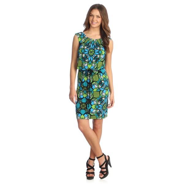 London Times Women's Green/ Black Geometric Print Blouson Dress