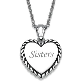 """Silver-plated Rope Framed Engraved """"Sisters"""" Heart Necklace"""