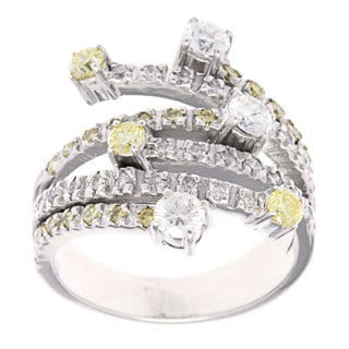 14k White Gold 1 1/5ct TDW Yellow Diamonds Estate Ring (H-I, SI1-SI2)