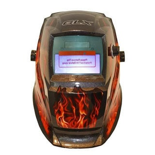 GLX One-size Black/ Red Flames Auto-darkening Welding Helmet