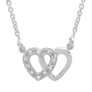 Sterling Essentials Sterling Silver Cubic Zirconia Linked Hearts Necklace