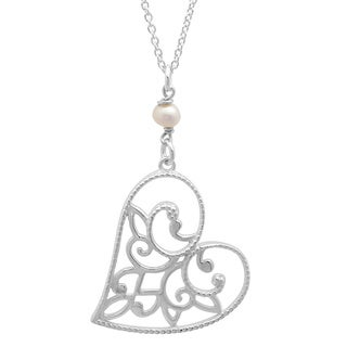 Sterling Essentials Sterling Silver Pearl Sideways Heart Filigree Pendant Necklace (4-5 mm)