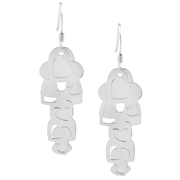 Sterling Essentials Silver Layered Mobile Heart Drop Earrings
