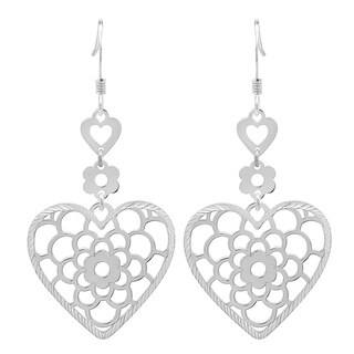 Sterling Essentials Tiered Floral Heart Drop Earrings
