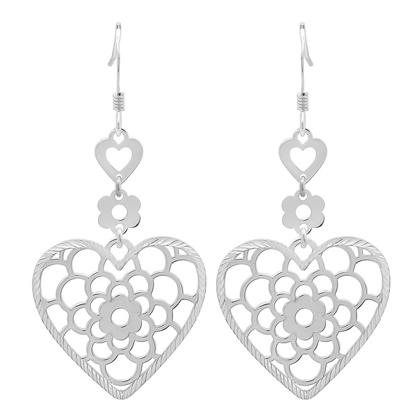 Sterling Essentials Sterling Silver Tiered Floral Heart Drop Earrings