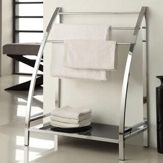 Chrome Finish Towel Bathroom Rack Stand Glass Shelf Overstock Shopping Big Discounts On Bath