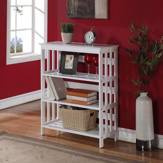 White Wood 4-tier Bookshelf Bookcase Display Cabinet