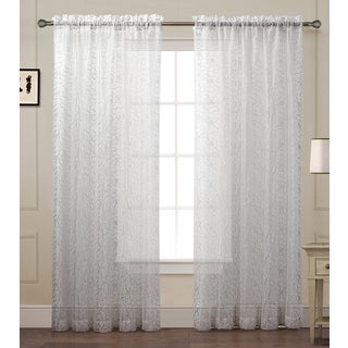 Debbie Floral Embroidered Sheer Curtain Panel