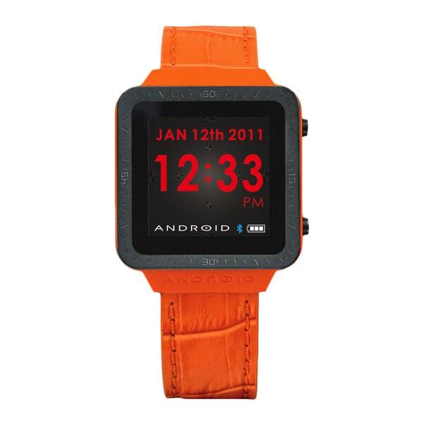 Android Men's Orange Digital Smart Watch