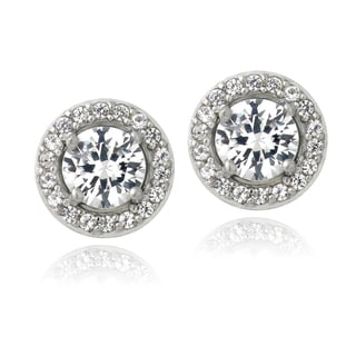 Glitzy Rocks Sterling Silver 3ct Created White Sapphire Round Halo Stud Earrings