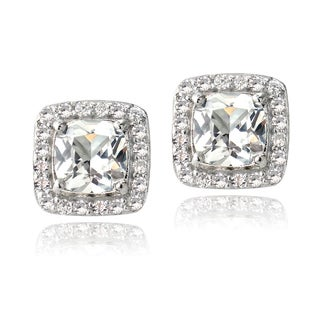 Glitzy Rocks Sterling Silver 3.6ct Created White Sapphire Square Stud Earrings