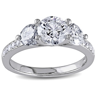 Miadora 14k White Gold 2 1/3ct TDW Round Diamond Three-Stone Ring