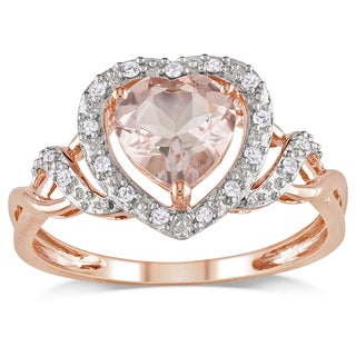 Miadora 10k Rose Gold 1/10ct TDW Diamonds and Morganite Ring (H-I, I2-I3)