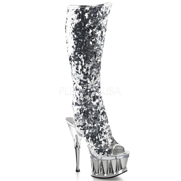 Pleaser Women's 'Spiky-2019' Sequin-covered Knee-high Boots