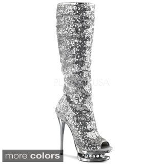 Pleaser Women's 'Blondie' Sequin Embellished Knee-high Boots