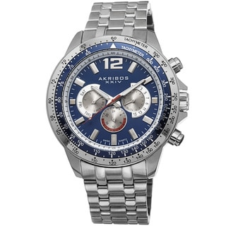 Akribos XXIV Men's Quartz Multifunction Tachymeter Stainless Steel Bracelet Watch