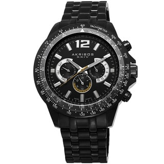 Akribos XXIV Men's Quartz Multifunction Tachymeter Stainless Steel Black Bracelet Watch