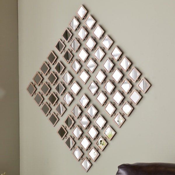 Upton Home Taza Mirrored Grid 4pc Wall Panel Set