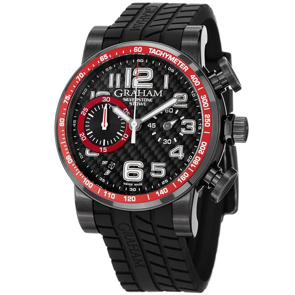 Graham Men's 'Silverstone' Black and Red Dial Rubber Strap Chrono Watch
