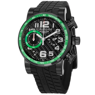 Graham Men's 2SAAB.B02A 'Silverstone' Black and Green Dial Rubber Strap Chrono Watch