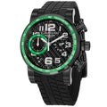 Graham Men's 'Silverstone' Black and Green Dial Rubber Strap Chrono Watch