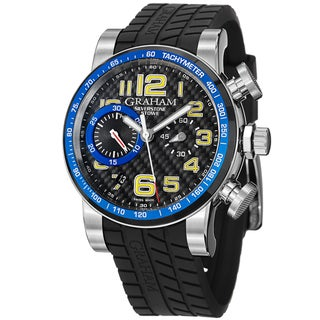 Graham Men's 'Silverstone' Black and Blue Dial Rubber Strap Chrono Watch