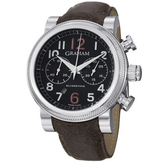 Graham Men's 'Silverstone' Black Dial Brown Leather Strap Watch