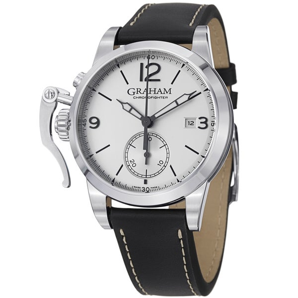 Graham Men's 2CXAS.S02A 'Chronofighter' Silver Dial Black Leather Strap Watch