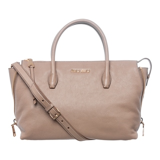 Miu Miu 'Madras' Tan Leather Side-zip Satchel