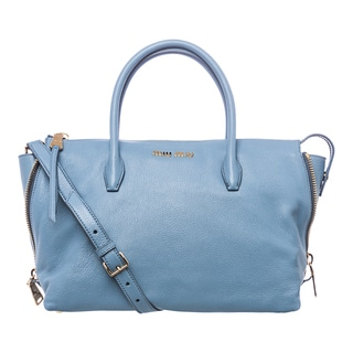 Miu Miu 'Madras' Sky Blue Leather Side-zip Satchel