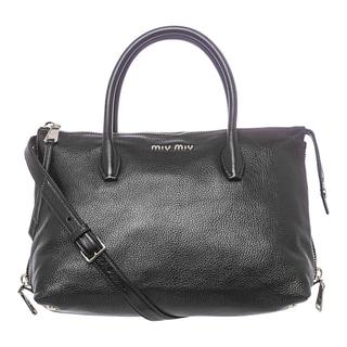 Miu Miu 'Madras' Black Leather Side-zip Satchel